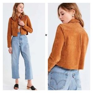 Urban Outfitters Suede Gas Leather Cropped Jacket